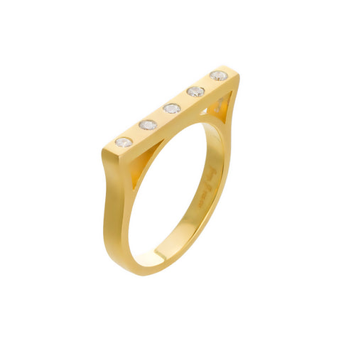 Modern Bezel Stackable Bar Ring. Metallic Detail that will have you falling in love.