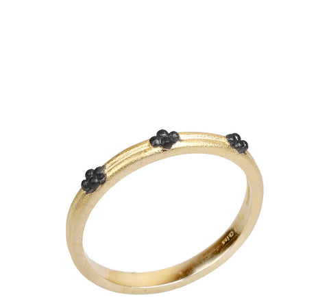 Two Tone Beaded Band Ring