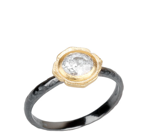 CZ Flower Textured Ring