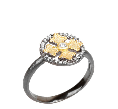 Fancy Cross CZ Ring
