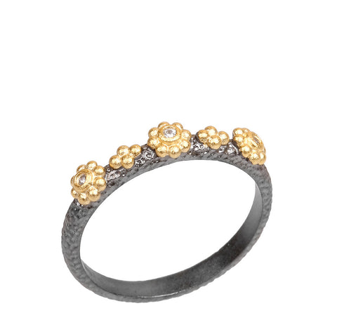 Multi CZ Beaded Flower Ring
