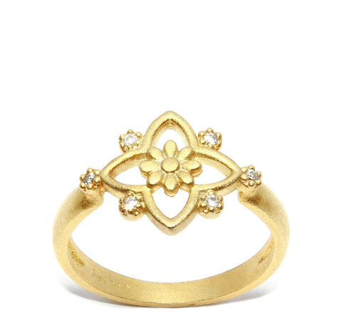 Open Star with Flower and CZ Accent Ring