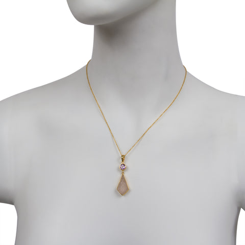 Amethyst / Rose Quartz Diamond Shape Drop Necklace
