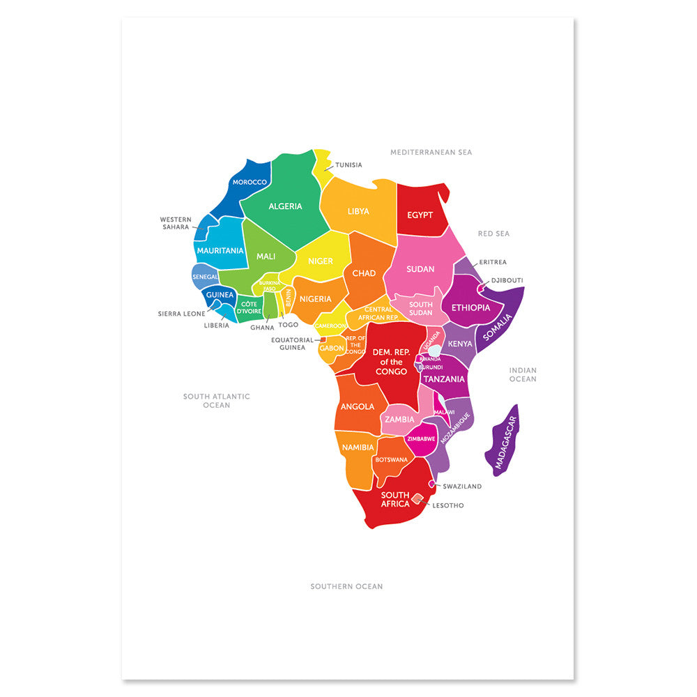Bright Map of Africa Print