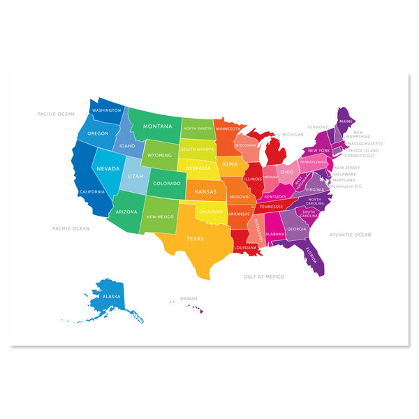Bright Map of the United States Print