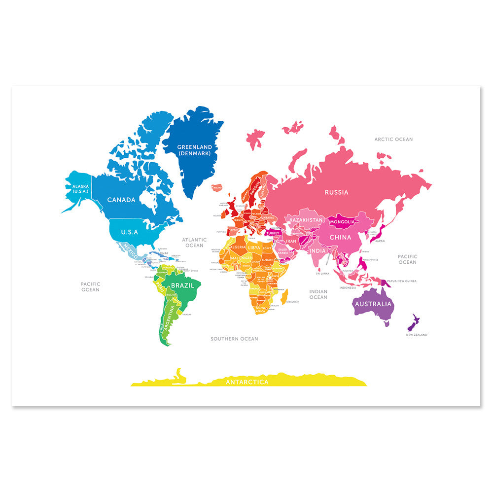 Bright Map of the World Print