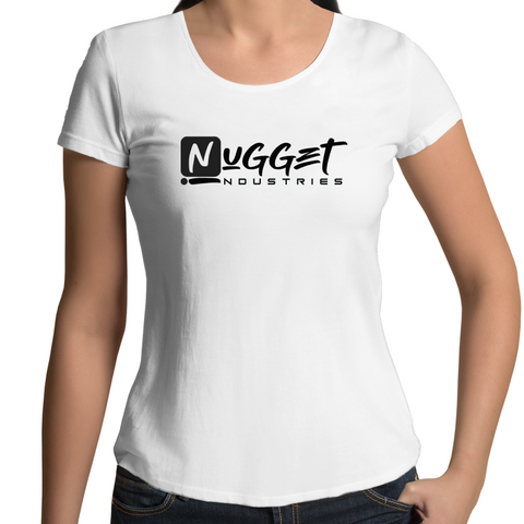 Signature Scoop Neck Tee - White - Nugget Industries