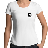 Logo Scoop Neck Tee - White - Nugget Industries