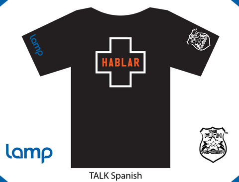 TFA & Lamp TALK IS POSITIVE SPANISH (black)