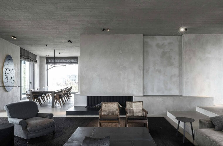 Grey Interiors, A beautiful penthouse apartment in Antwerp, Belgium by Architectural firm, Vincent Van Duysen