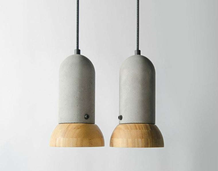 wood and concrete pendants