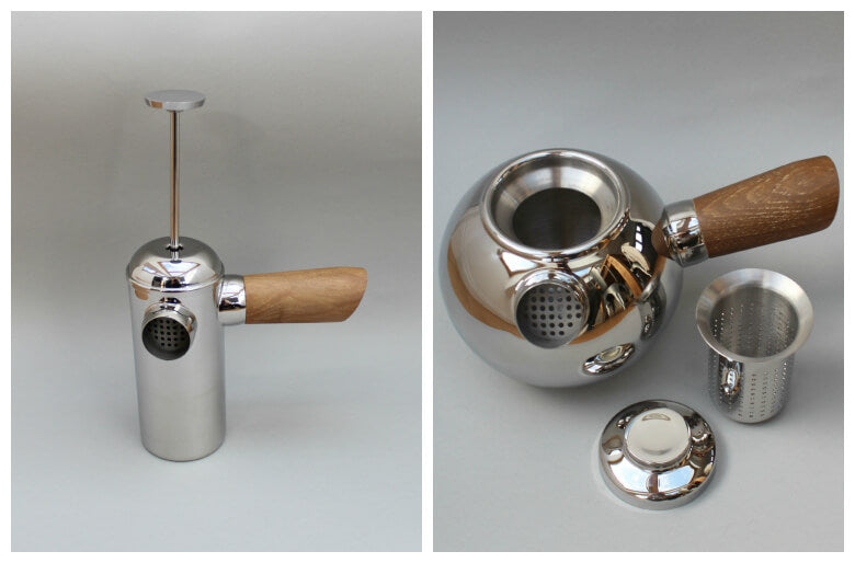 handmade Cafetiere and stainless steel teapot