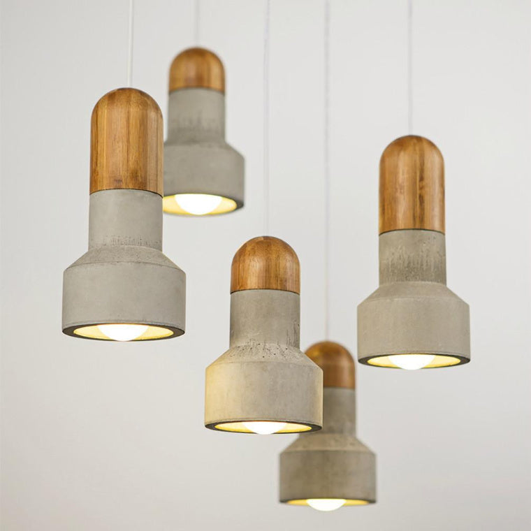 wood & concrete pendants