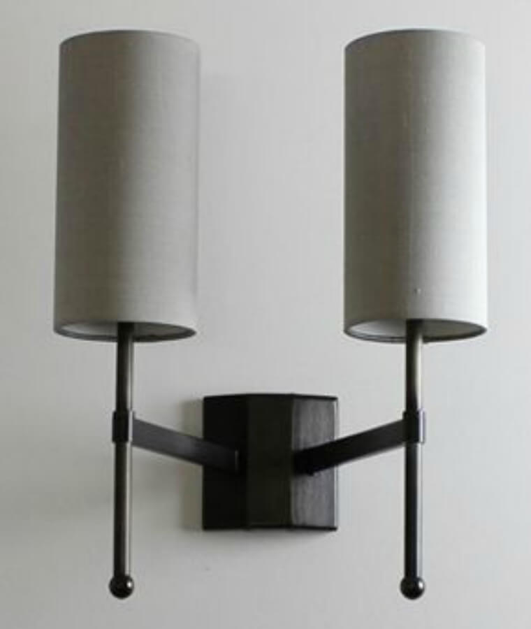 Stem Double Wall Light with Silk Shade
