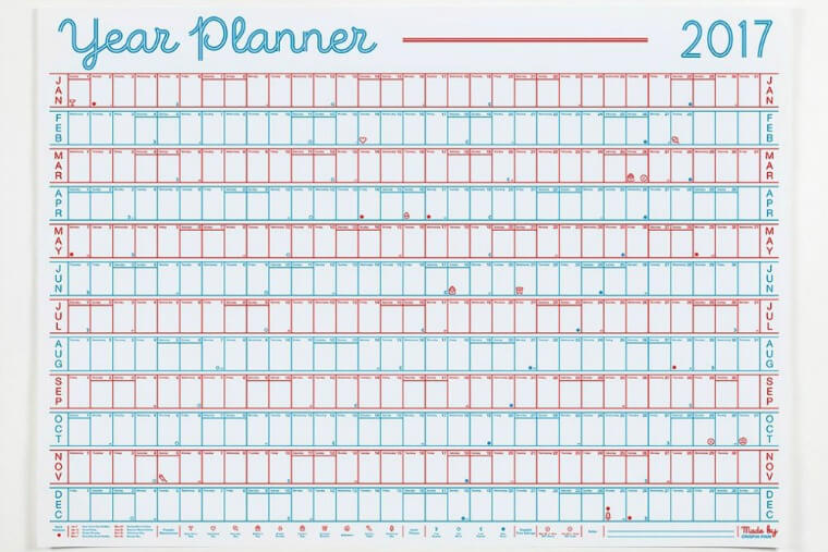 This 2017 Year Planner by the design duo behind Crispin Finn is essential to make sure you don't miss any deadlines and get your precious holidays booked in. The print is an embossed 2 colour screen print on 120gsm 100% recycled, biodegradable white paper.