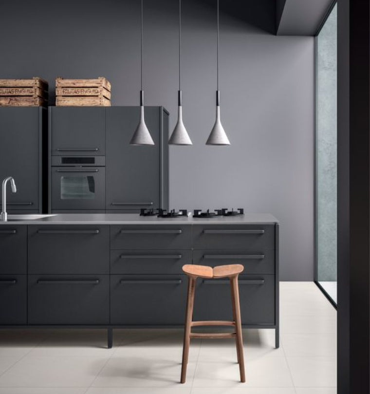 concrete pendants in a kitchen