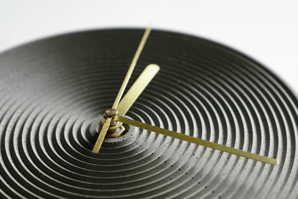 Zhong Concrete Wall Clock - Brass Hands