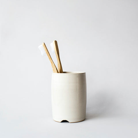 Stoneware Toothbrush Holder - White