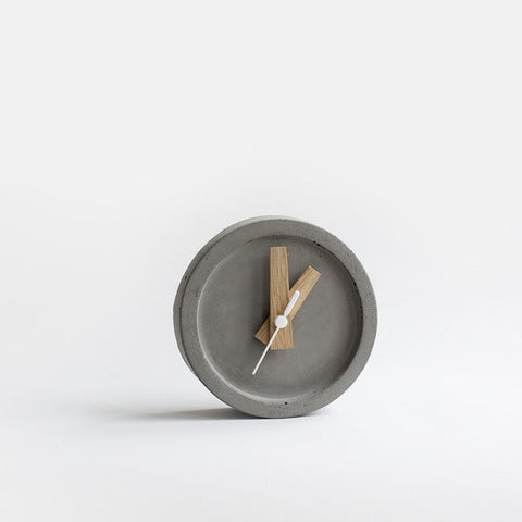 Concrete Table Clock - Grey