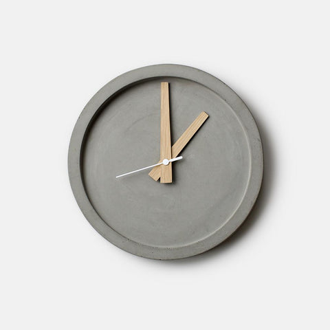 Concrete Wall Clock - Oak Hands