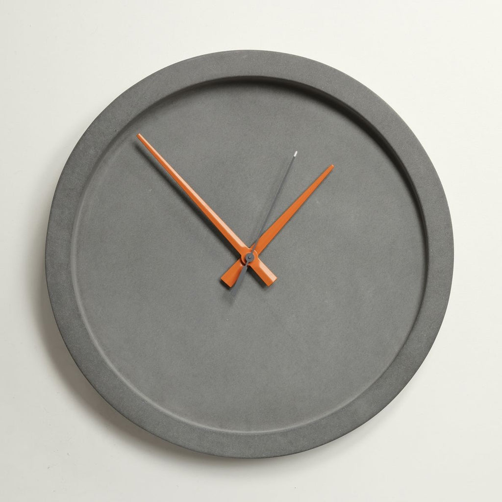 Concrete Wall Clock - Orange Hands