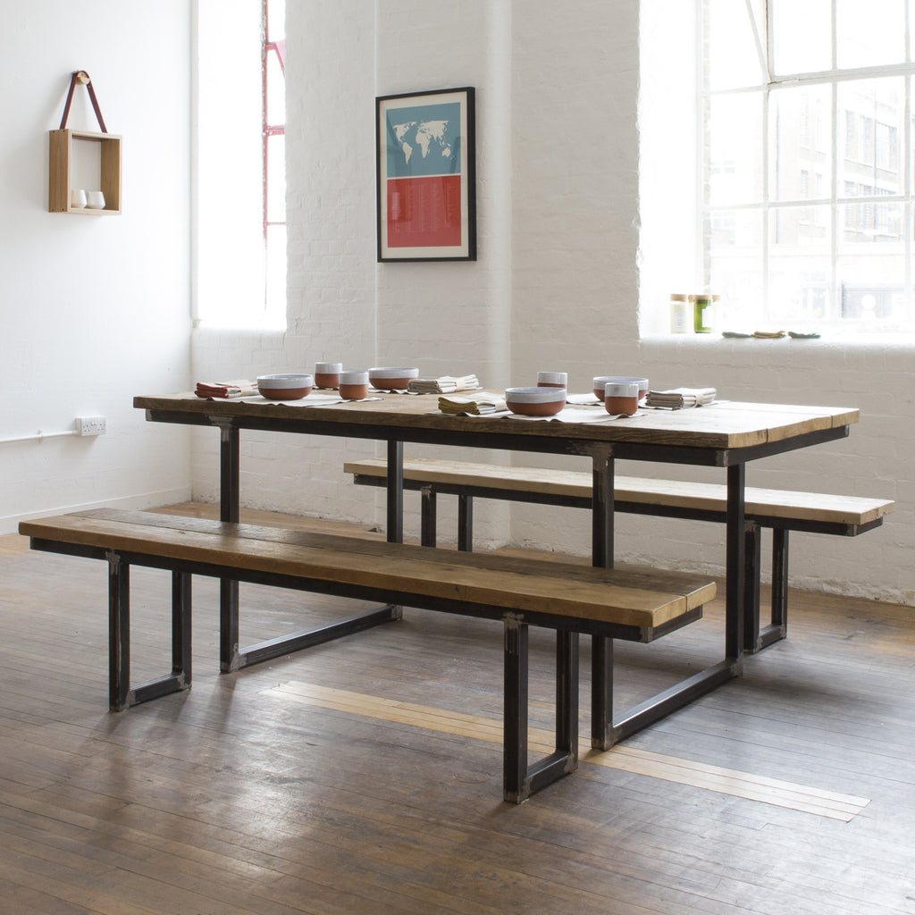 Reclaimed wood dining table such
