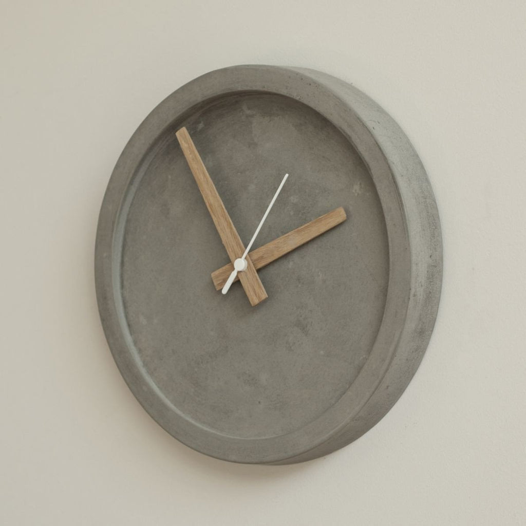 Concrete Wall Clock - Grey