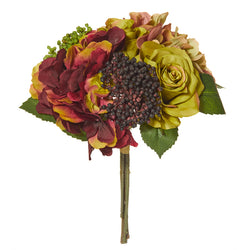 Rose and Hydrangea Bouquet Burgundy
