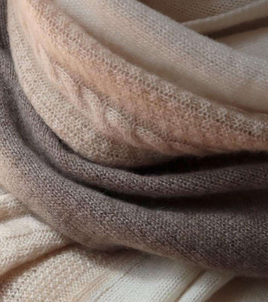 Knitted Cashmere Three-Tone Wrap (Pre-Order)