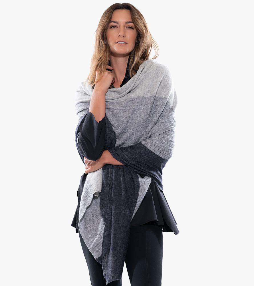 Knitted Cashmere Three-Tone Wrap (Pre-Order) - Stella Carakasi - Accessories