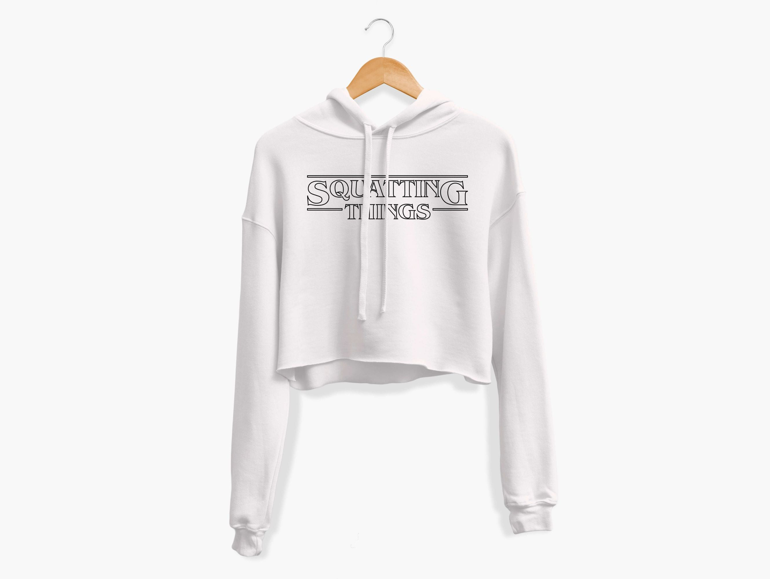 Squatting Things Cropped Hoodie