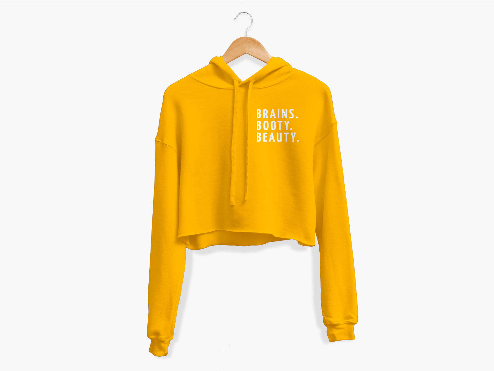 Brains. Booty. Beauty. Cropped Hoodie