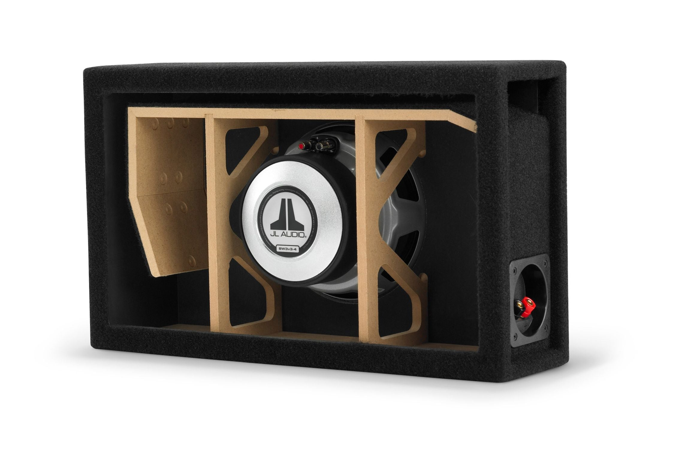 Cutaway of CP108LG-W3v3 Enclosed Subwoofer Showing Port and Internal Bracing