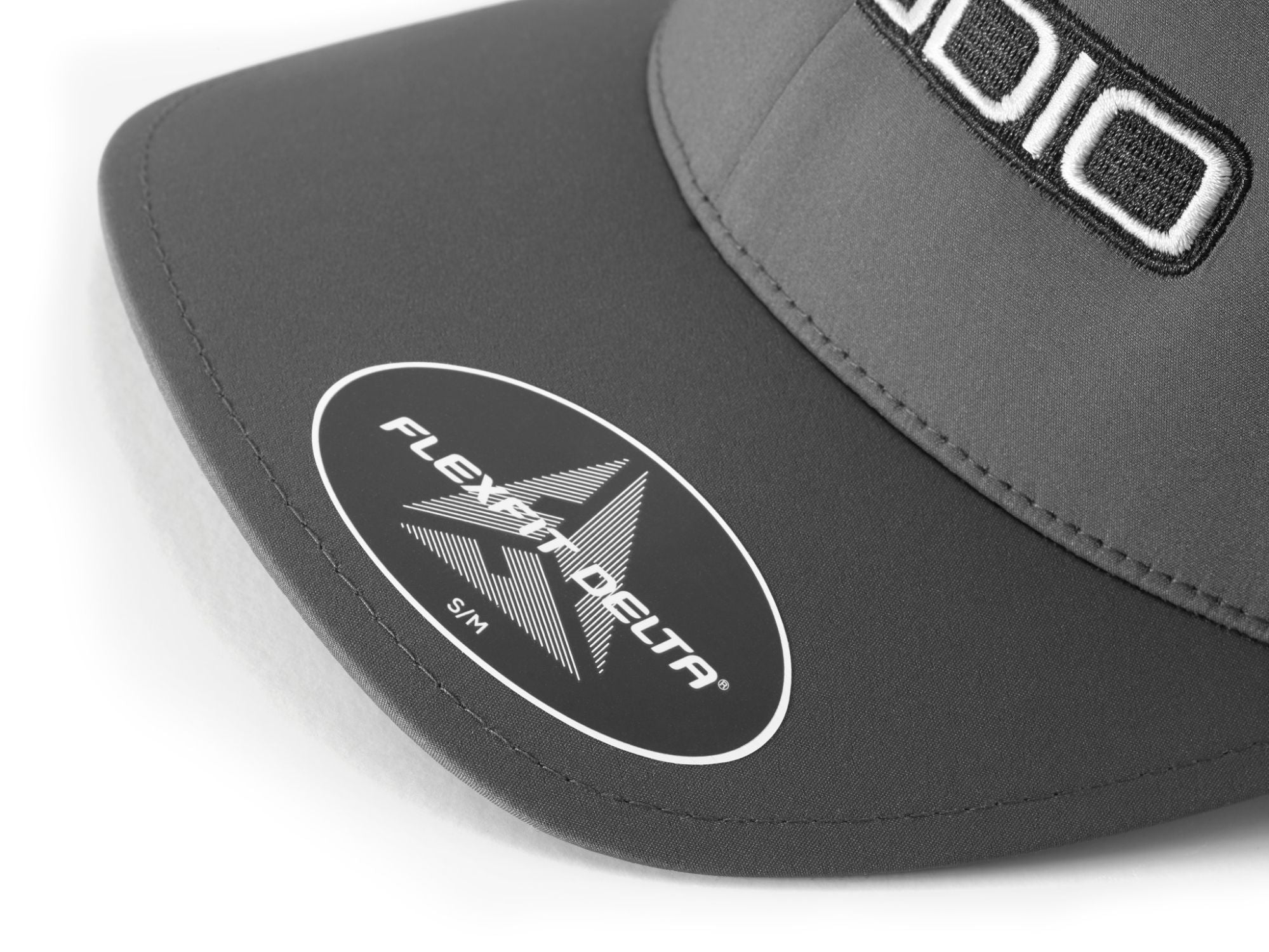 Front of Dark Gray FlexFit Hat with JL Audio Logo Bill Label Detail