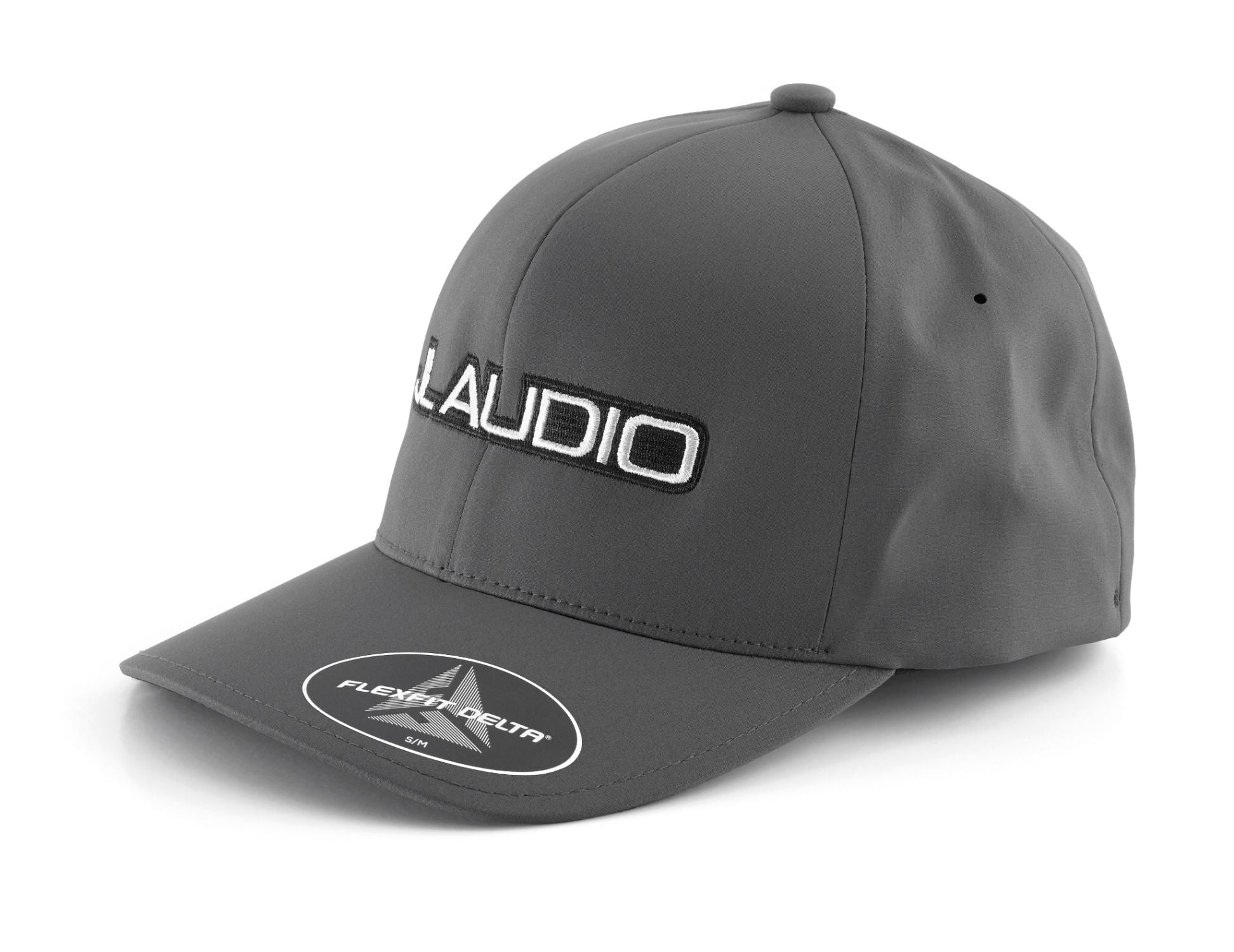 Front of Dark Gray Small FlexFit Hat with JL Audio Logo Facing Left