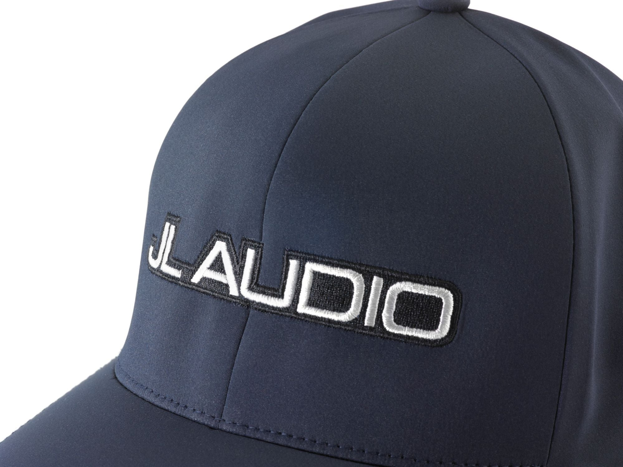 Front of Navy FlexFit Hat with JL Audio Logo Detail