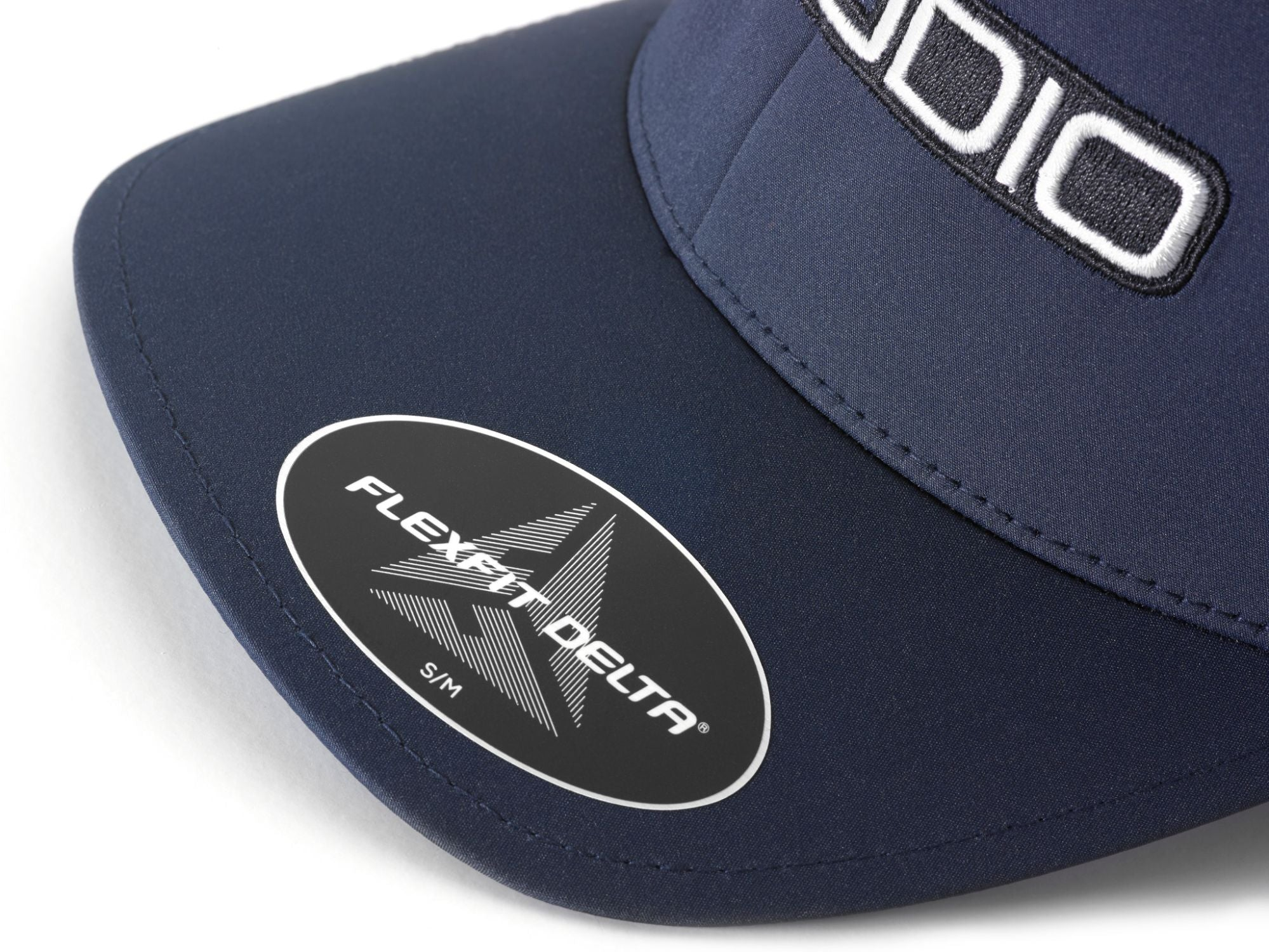 Front of Navy FlexFit Hat with JL Audio Logo Bill Label Detail