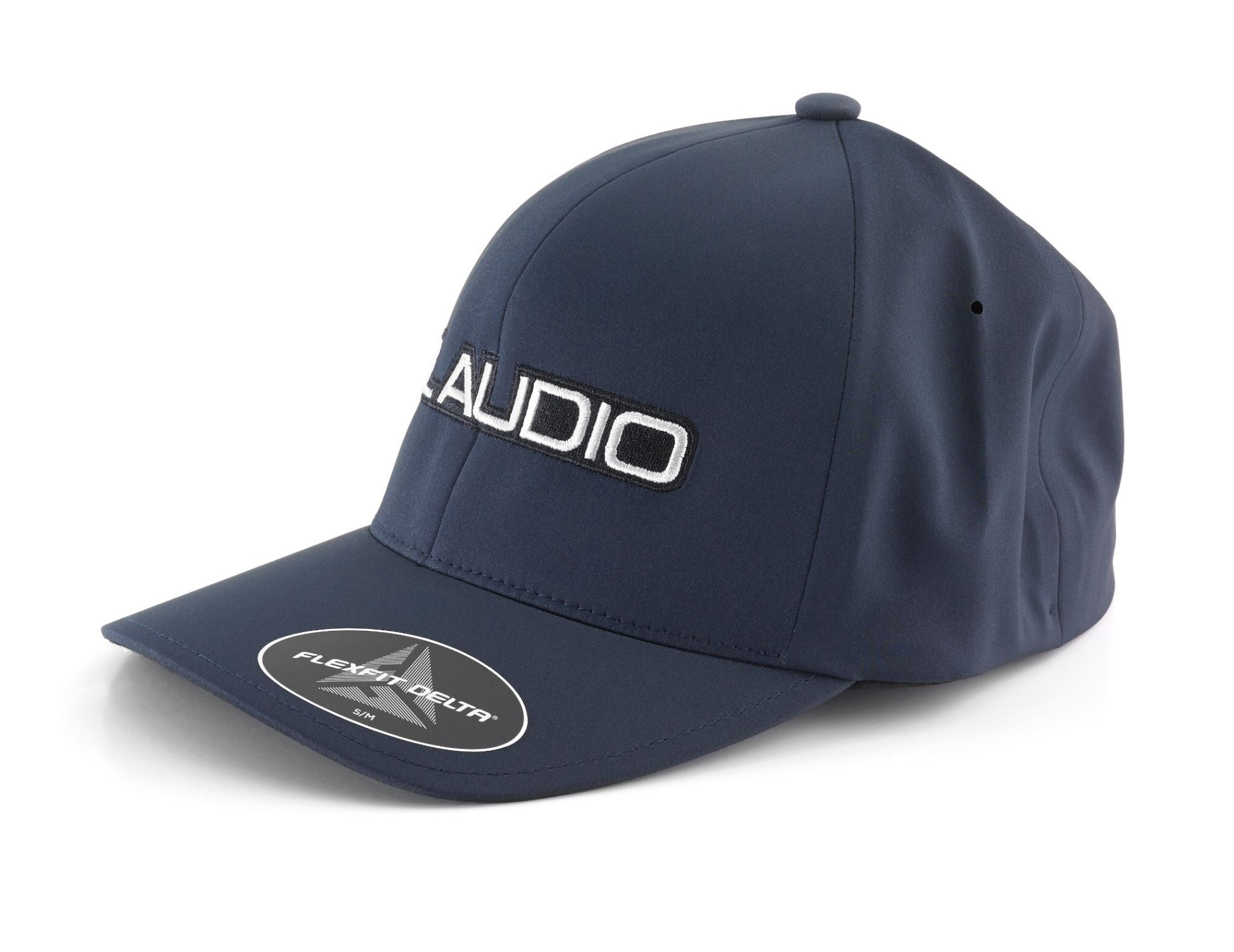 Front of Navy FlexFit Hat with JL Audio Logo Facing Left