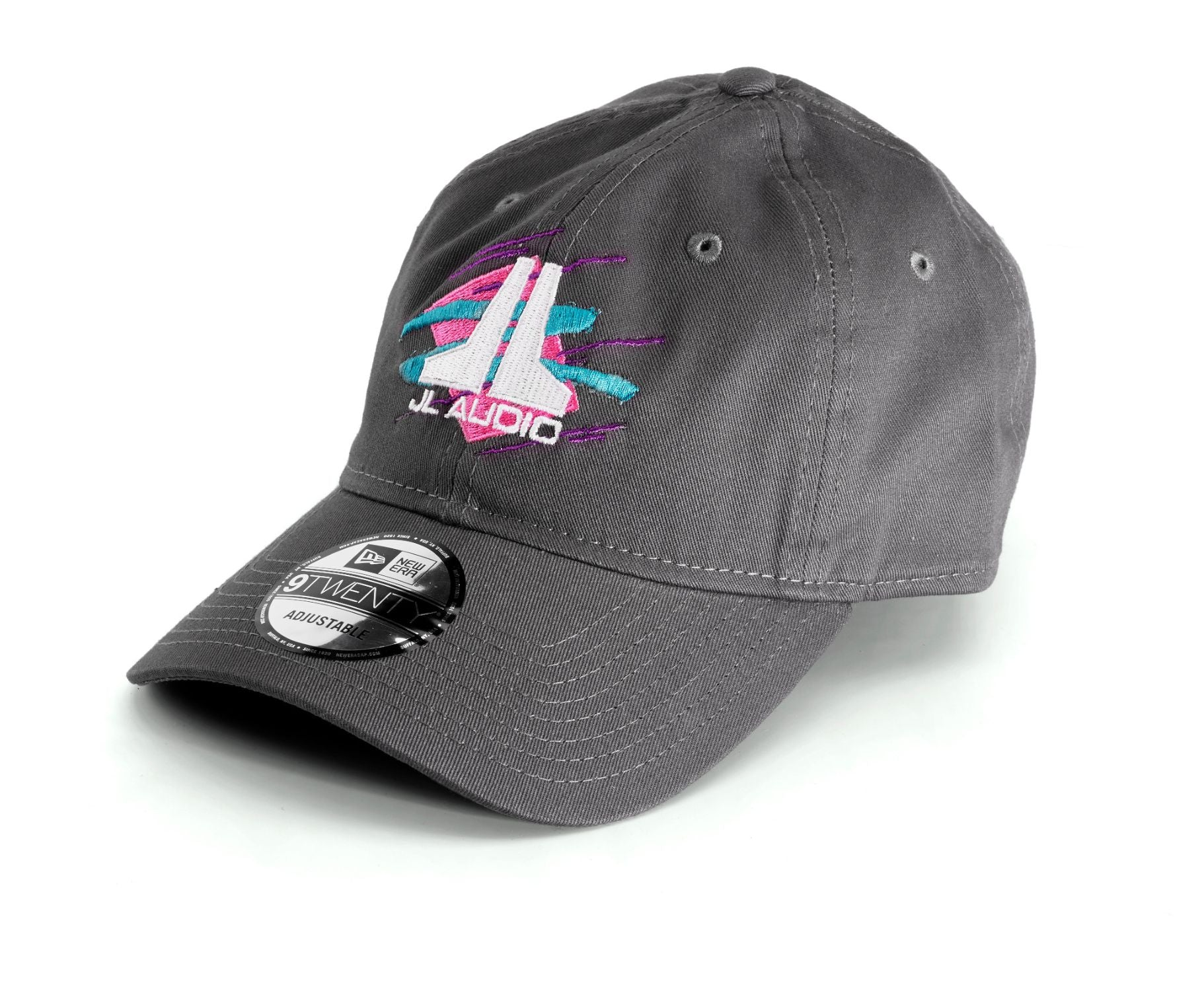 Front of Gray JL Audio Throwback Logo Cap