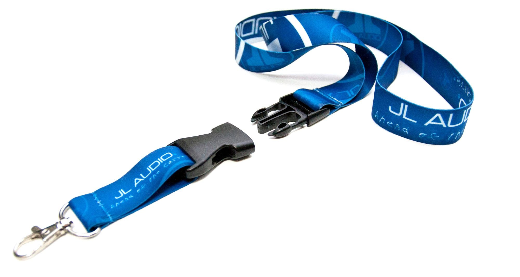 Blue Logo Lanyard showing Clip Disconnected