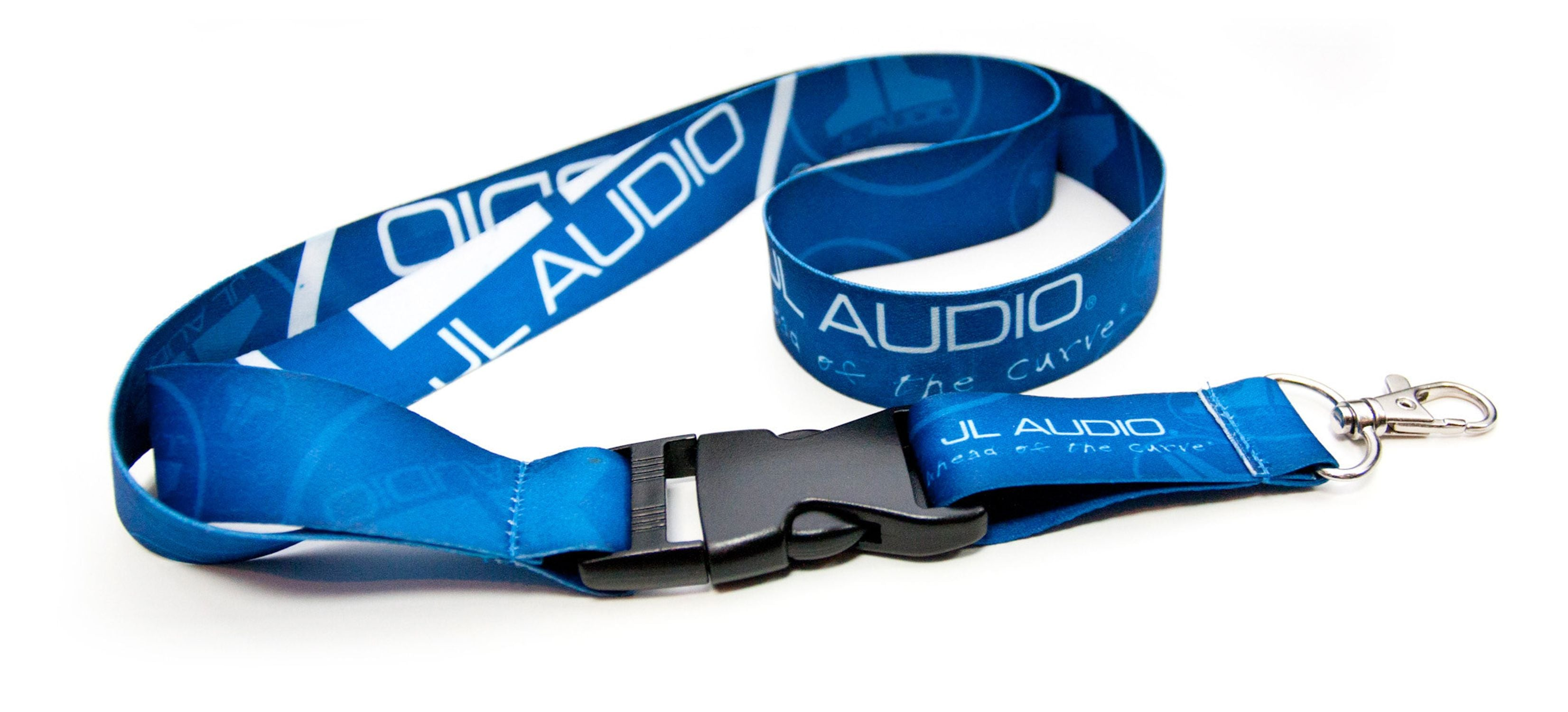 Blue Logo Lanyard showing Clip Connected