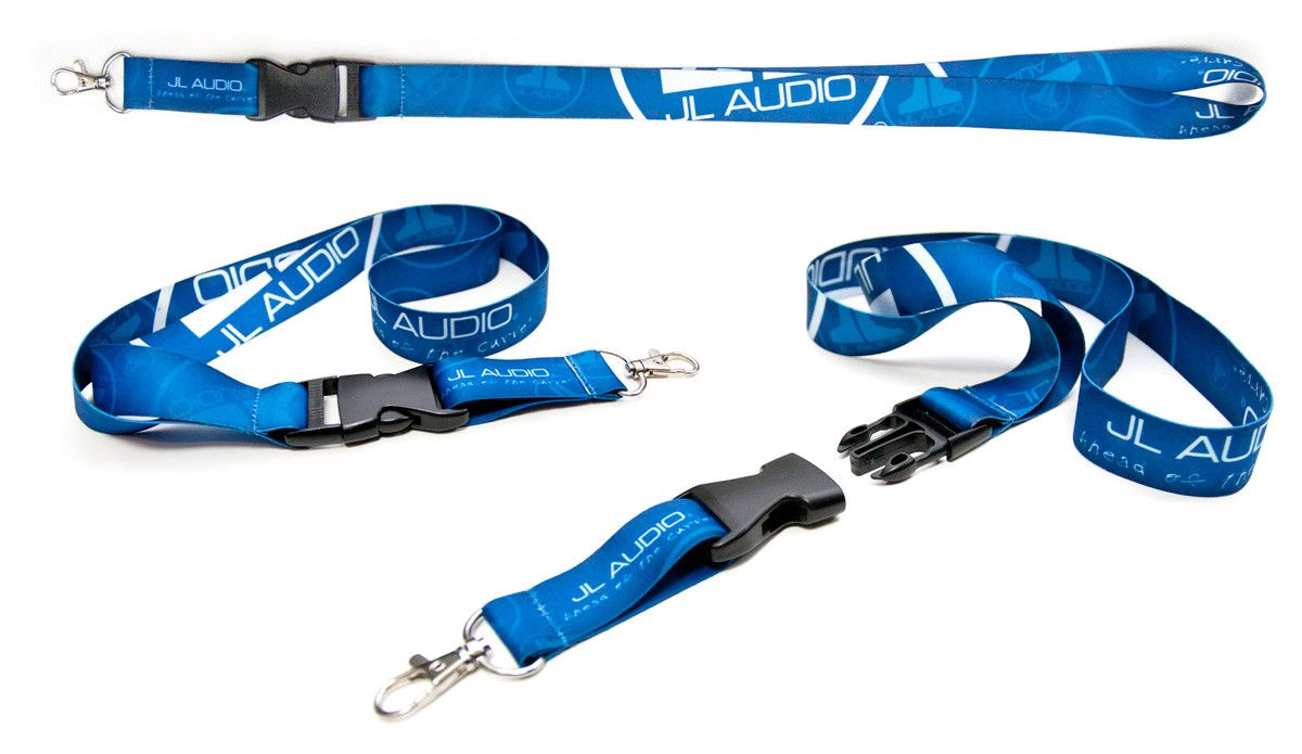 Three views of the Blue Logo Lanyard showing Clip Connected and Disconnected