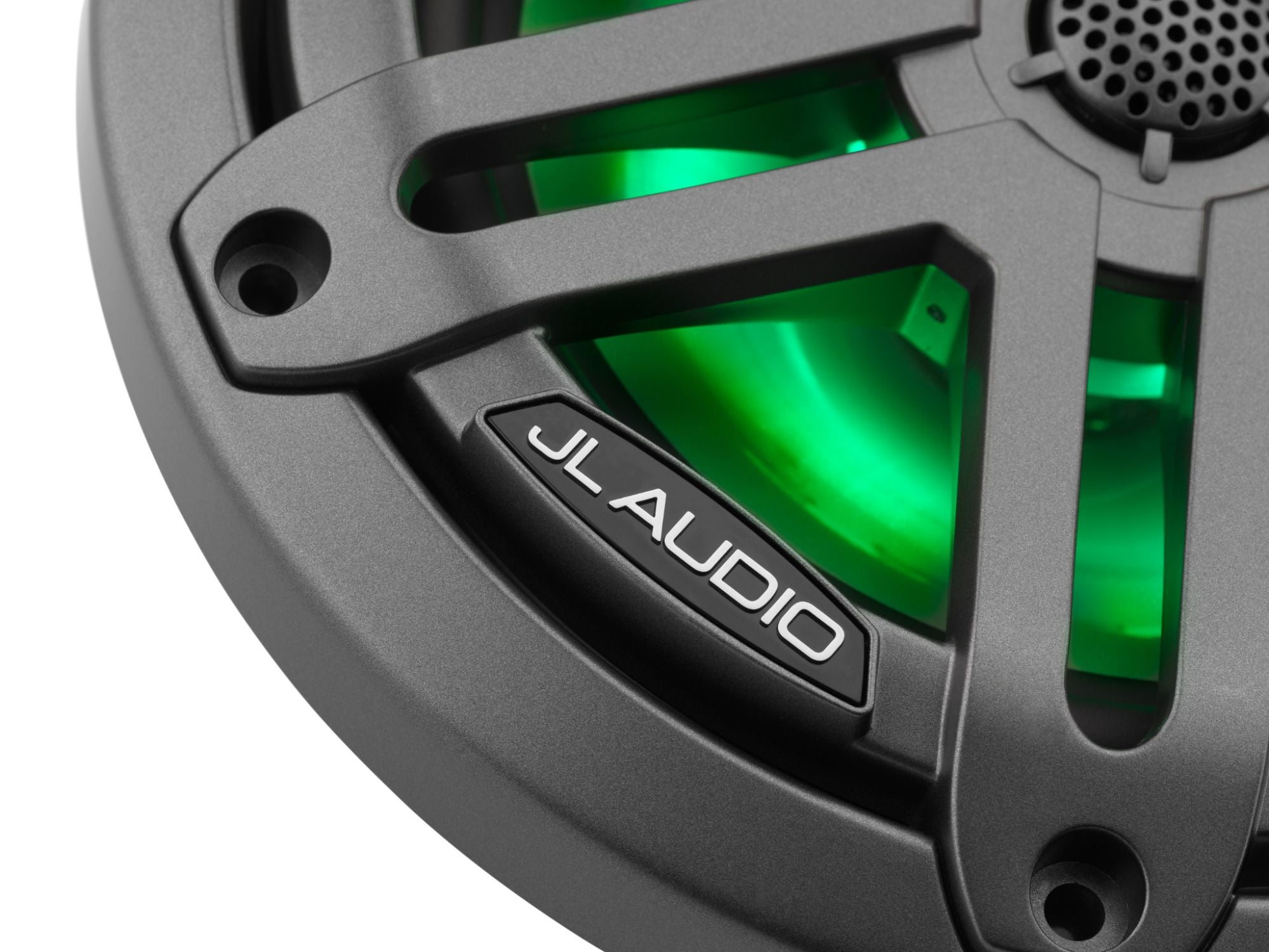 Detail of M3-650X-S-Gm-i Coaxial Speaker Lit with Green