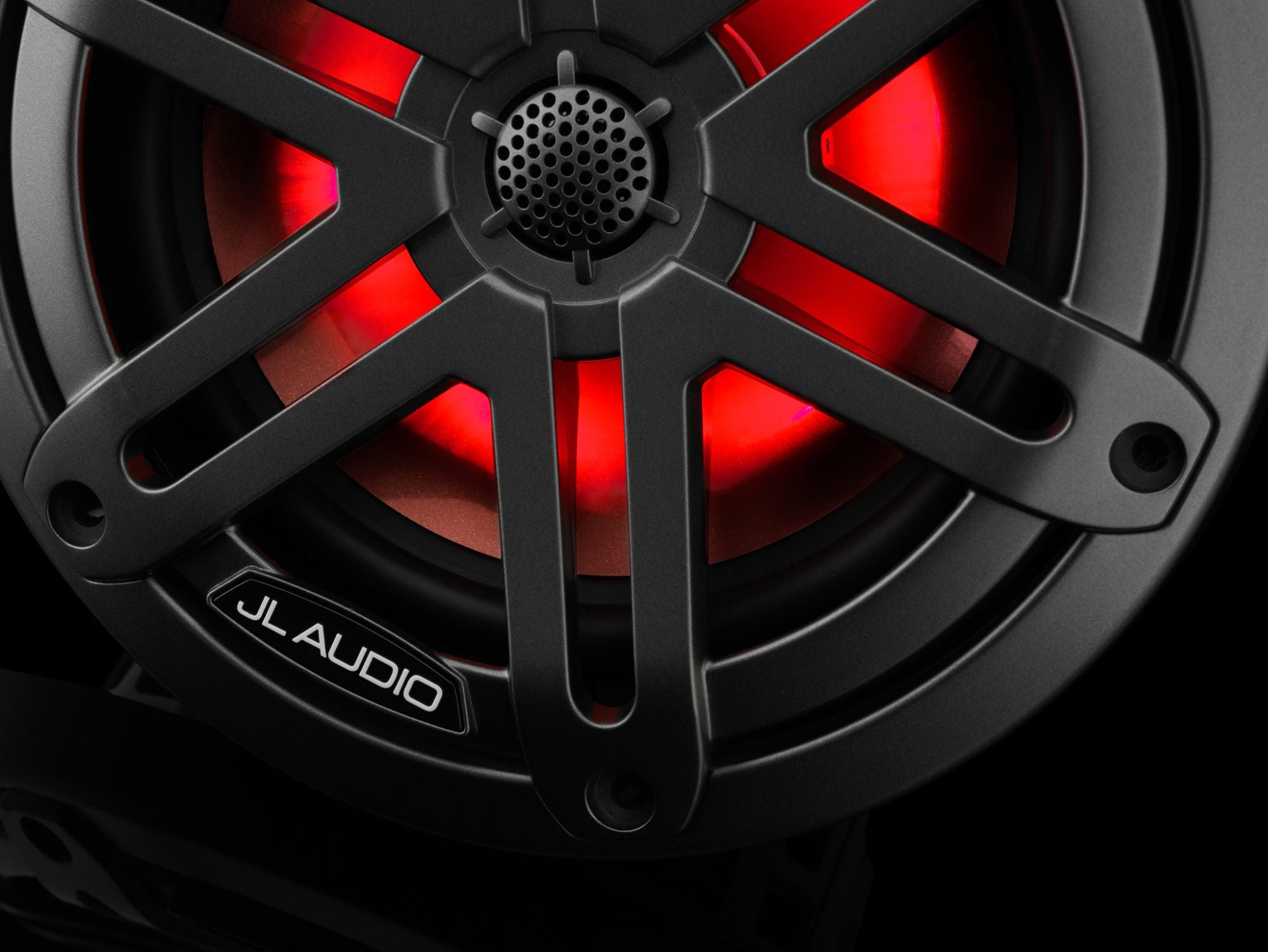 Detail of M3-650X-S-Gm-i Coaxial Speaker Lit with Red