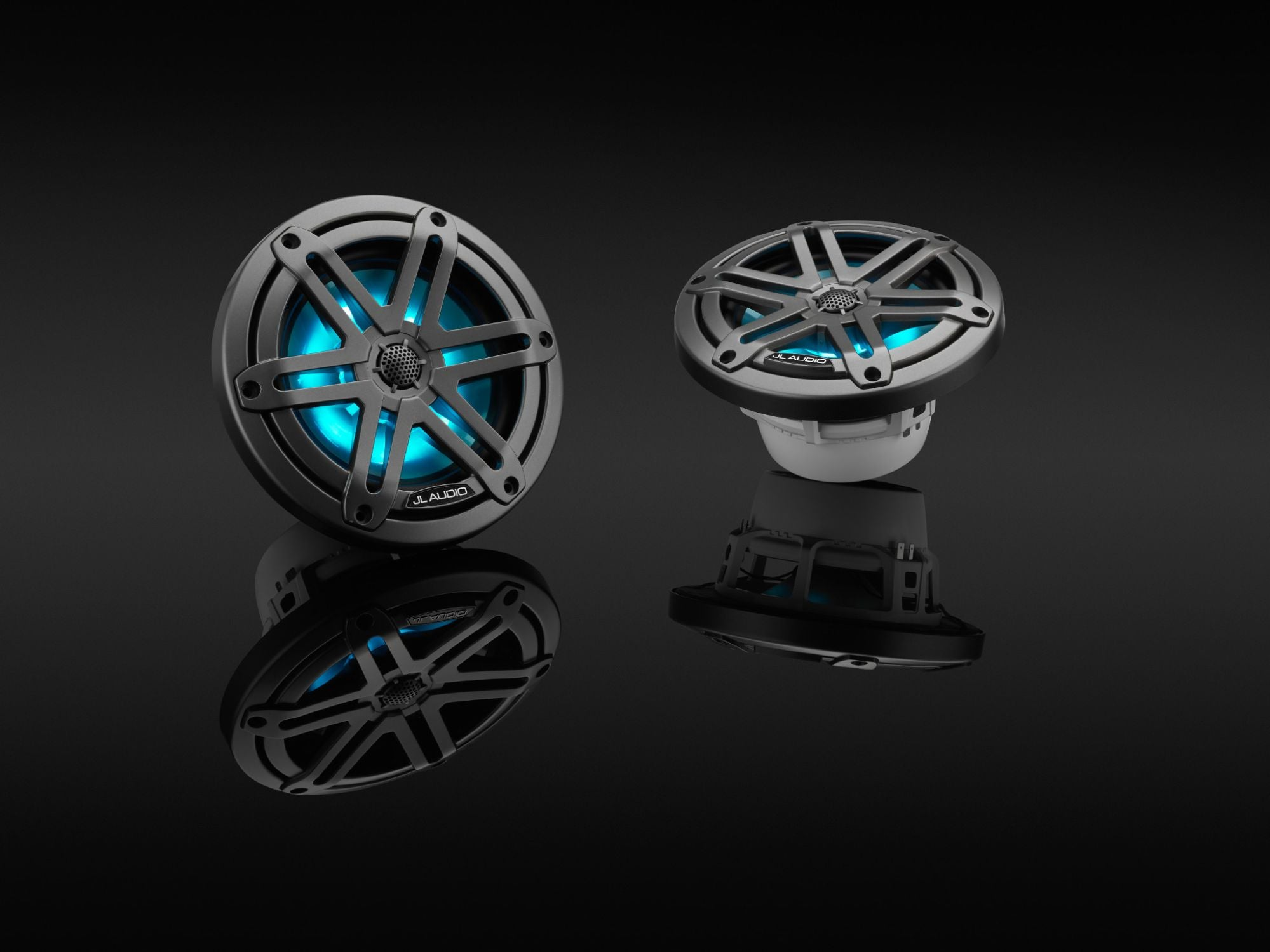 Pair of M3-650X-S-Gm-i Coaxial Speaker on Black, Lit Blue