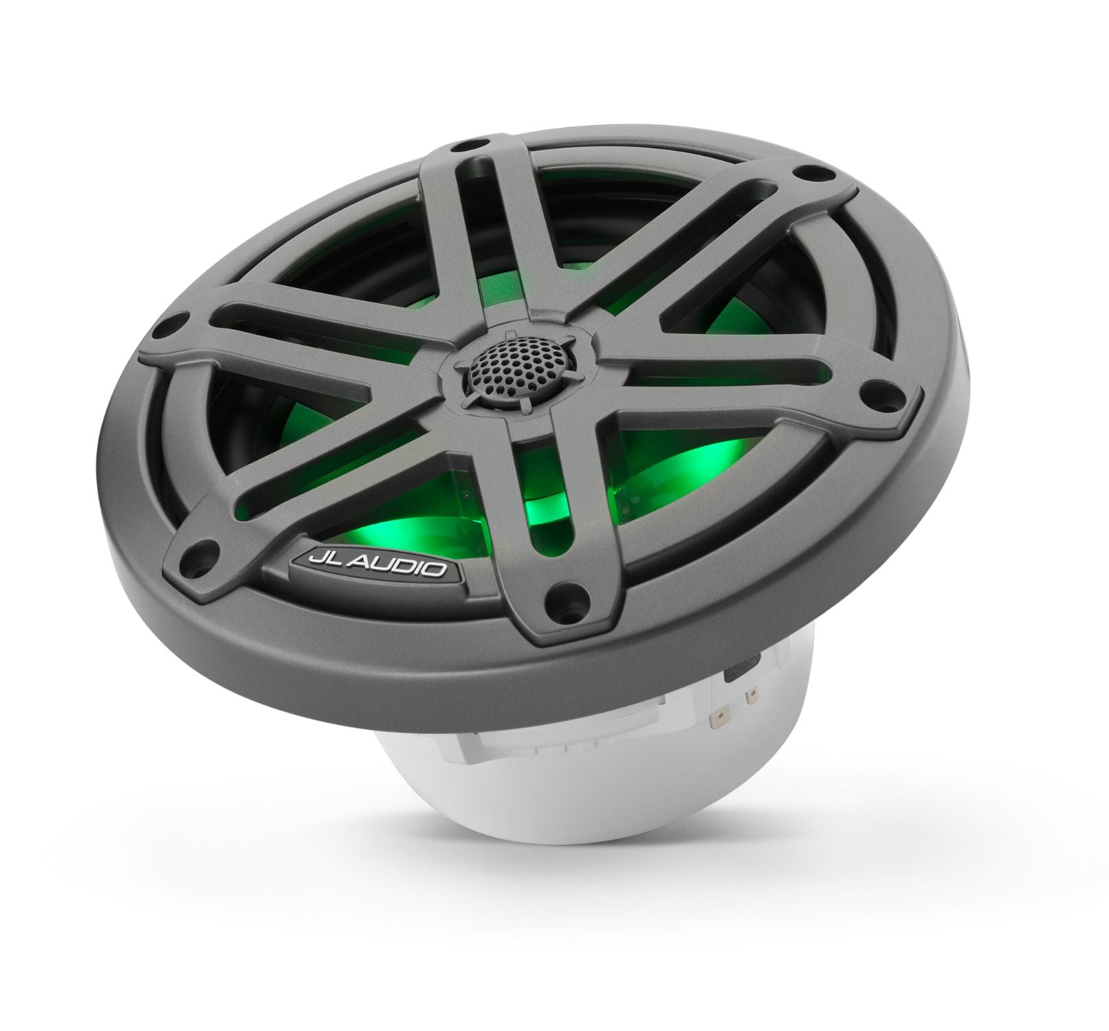 M3-650X-S-Gm-i Coaxial Speaker Tilted Lit with Green