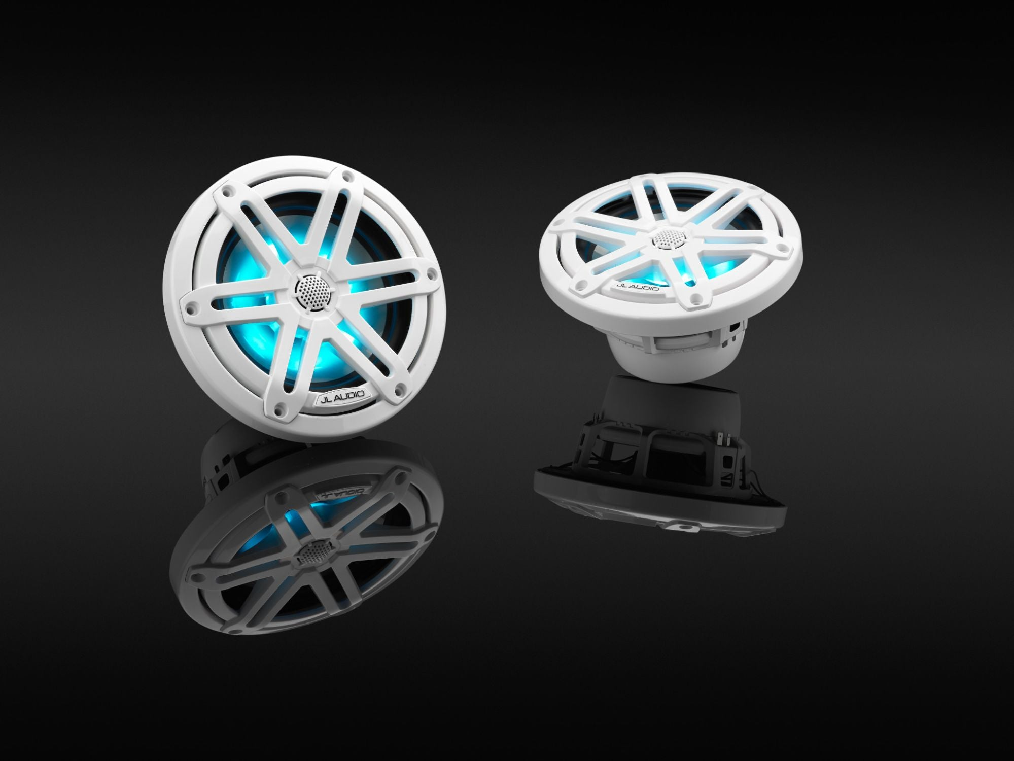 Pair of M3-650X-S-Gw-i Coaxial Speaker on Black, Lit Blue