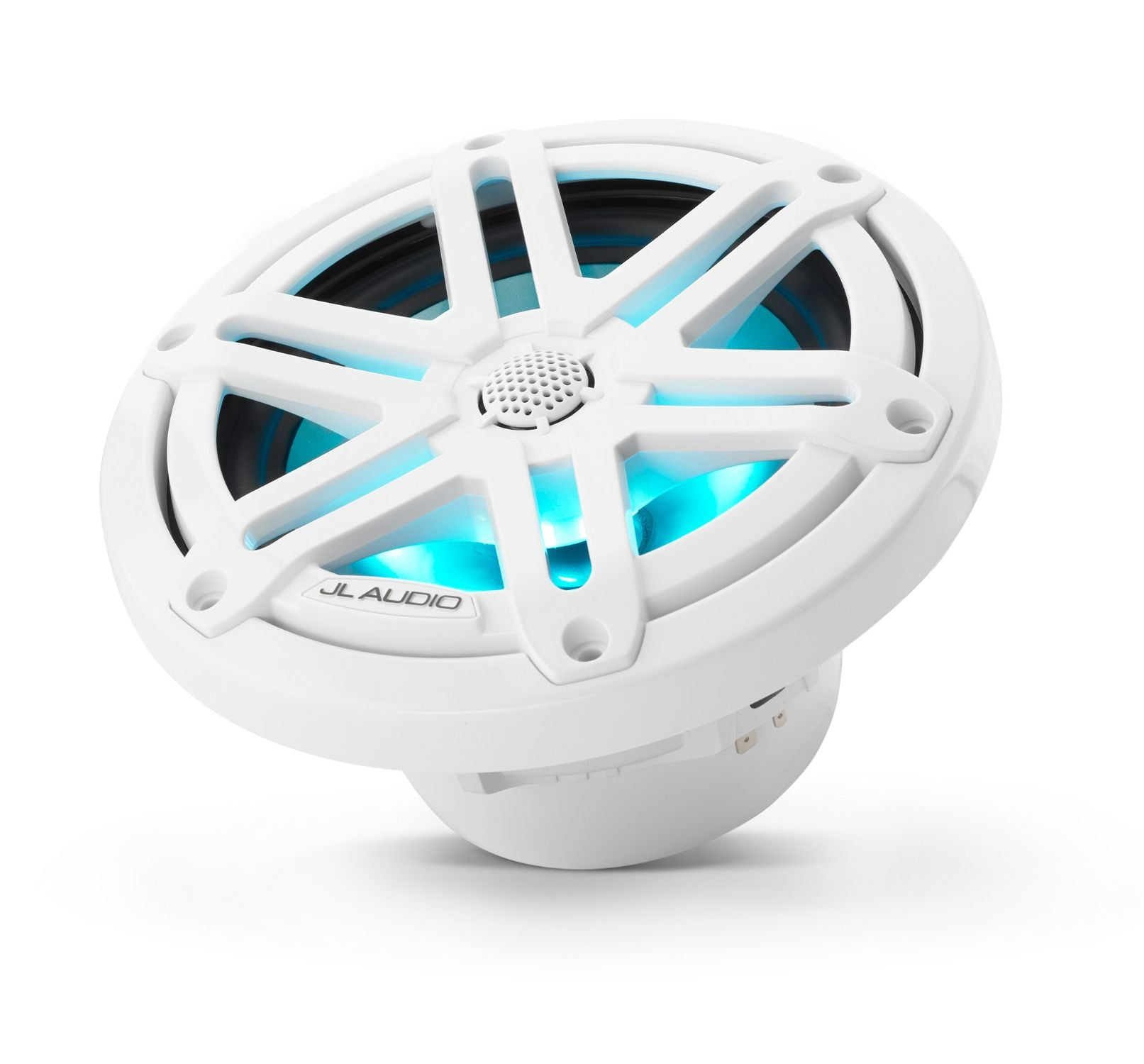 M3-650X-S-Gw-i Coaxial Speaker Tilted Lit with Aqua