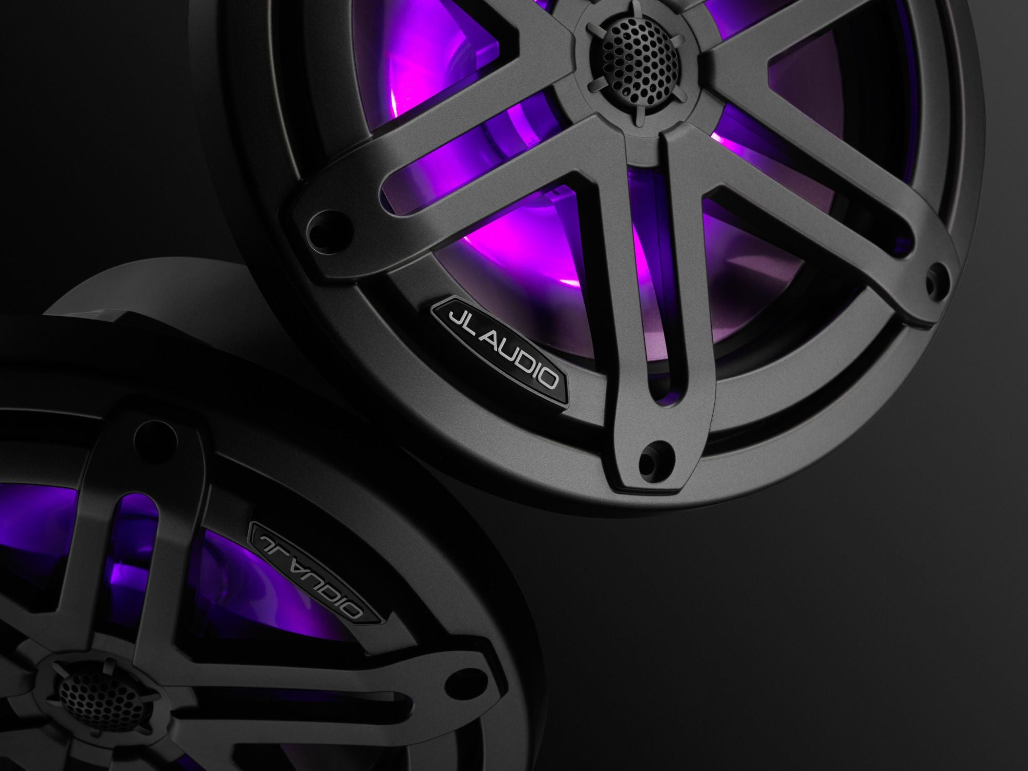 Detail of M3-770X-S-Gm-i Coaxial Speaker Lit with Purple