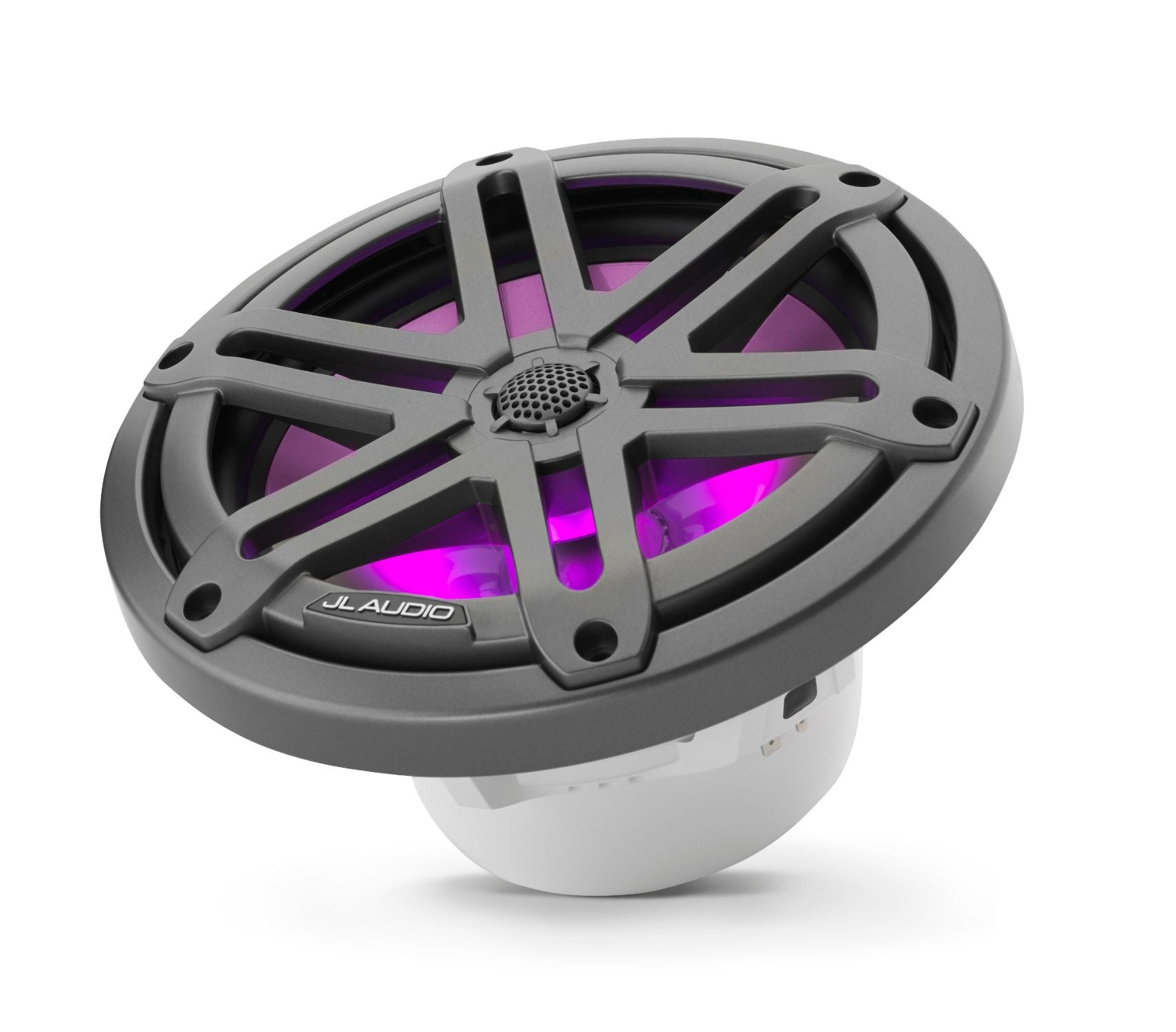 Front of M3-770X-S-Gm-i Coaxial Speaker Tilted Lit with Pink